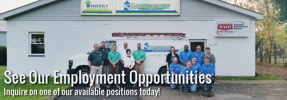 For Employment opportunities in AC with Bartholomew Heating and Cooling, call us today!